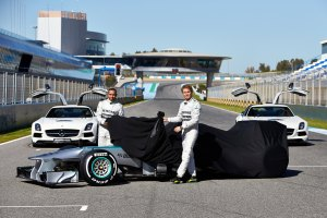 Lewis Hamilton and Nico Rosberg unveil the 2013 Mercedes W04 (Mercedes)