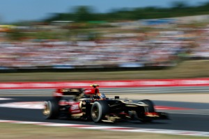 Romain Grosjean in action for Lotus at the 2013 Hungarian Grand Prix (Andrew Ferraro/Lotus F1 Team)