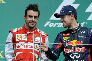 Alonso and Vettel on the podium at the 2013 Canadian Grand Prix. Could they be team-mates next season (Image: Ferrari)