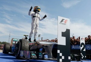 Lewis Hamilton celebrates his Hungarian Grand Prix victory (Image: Mercedes)
