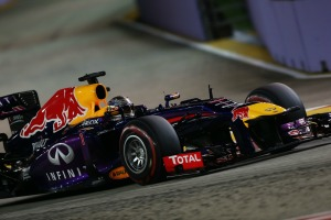 Sebastian Vettel on his way to taking pole position in Singapore (Image: Pirelli)