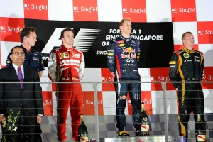 Sebastian Vettel stands on the Singapore podium, just before the jeers starts (Image: Ferrari)