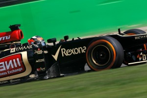 Kimi Raikkonen set an identical lap time to his team-mate Romain Grosjean in FP2 at Monza (Andrew Ferraro/Lotus F1 )