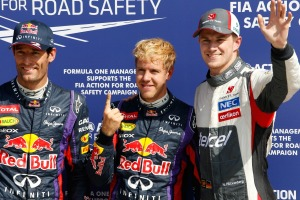 Red Bull's Sebastian Vettel and Mark Webber locked out the front row at Monza, with Hulkenberg third (Sauber Motorsport AG)