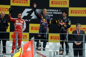 Sebastian Vettel celebrates his Italian Grand Prix victory on the Monza podium (Photo: Ferrari)