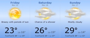 Weather forecast for the United States Grand Prix from Accuweather.com