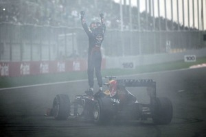 Vettel celebrates winning his fourth title in India (Pirelli)