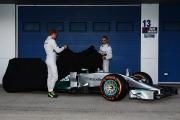 Rosberg and Hamilton unveil the Mercedes W05 (Image: Mercedes AMG F1)