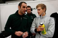 Marcus Ericsson talks to Caterham team principal Cyril Cyril Abiteboul (Andrew Ferraro/LAT Photographic)
