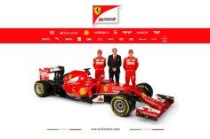 Ferrari team principal Stefano Domenicali with drivers Alonso and Raikkonen and the F14 T (Image: Ferrari)
