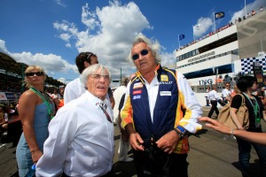 Bernie Ecclestone (left) pictured with Flavio Briatore at the 2009 Hungarian Grand Prix (LAT Photographic)