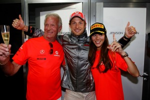 Jenson Button with his father, John, and girlfriend, Jessica Michibata (McLaren)