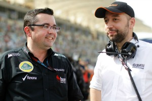 Gérard Lopez (right) has replaced Eric Boullier (left) as Lotus Team Principal (Andrew Ferraro/LAT Photographic)