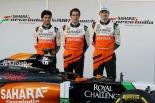 Sergio Perez, Daniel Juncadella and Nico Hulkenberg with the Force India VJM07 (Image: Force India F1 Team)