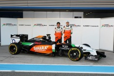 Sergio Perez and Nico Hulkenberg with the Force India VJM07 (Image: Force India F1 Team)