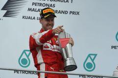 Sebastian Vettel celebrates a surprising victory in Malaysia, 2015 (Image: Ferrari)