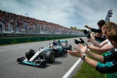 Lewis Hamilton celebrates his victory in Canada, 2015 (Image: Mercedes AMG F1)