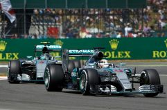Lewis Hamilton leads team-mate Rosberg on his way to victory at Silverstone, 2015 (Image: Mercedes AMG F1)