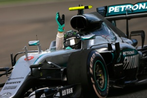 Nico Rosberg celebrates his Chinese Grand Prix victory (Image: Daimler AG)